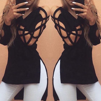 2017 Autumn Women irregular Dress Sexy Hollow Out V Neck Vintage Gothic Cotton Bandage Bodycon Club Party Loose Beach Dresses