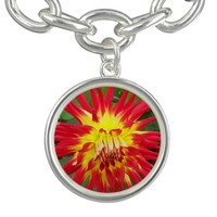 Red and Yellow Dahlia Flower Charm