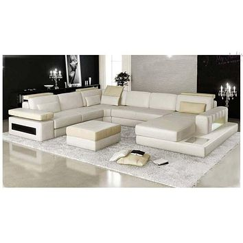U Shaped Leather Lounge With Chaise