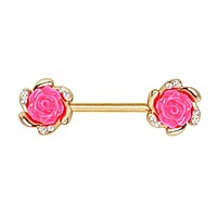 Gold Plated Multi-Clear CZ Pink Rose WildKlass Nipple Bar