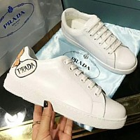 Prada Fashionable Women Comfortable Leather Girl Pattern Sport Shoes Sneakers White I-XIMIN-WMNX