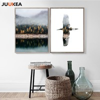 Posters And Prints Wall Art Canvas Painting Wall Pictures for Living Room Nordic Decoration Scandinavian Fog Mountain Bird Decor