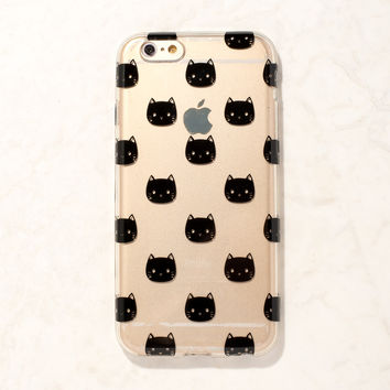 Clear Black Cat Kitty Kitten Meow iPhone 6S/ 6 case