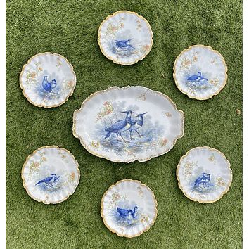 7 pc French Limoges Hand Painted Gold Encrusted Floral & Blue Game Bird Plates & Platter Set