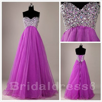 Beads Sweetheart Strapless Lace-up Empired Long Bridesmaid Celebrity Dress,Organza Formal Evening Party Prom Dress New Homecoming Dress