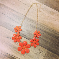 Five Flower Statement Necklace - Coral With Earrings