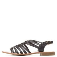 Black Basket-Woven Strappy Flat Sandals by Charlotte Russe