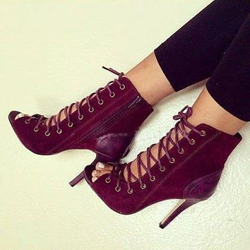 Wine red suede leather lace up peep toe ankle boots
