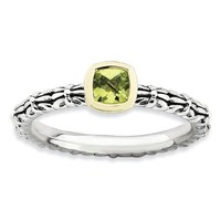 Sterling Silver And 14k Stackable Expressions Checker-Cut Peridot Ring