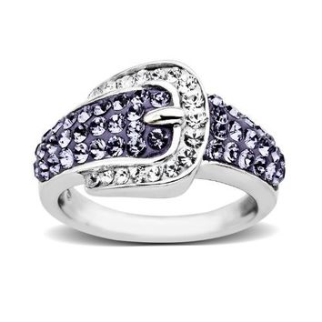 Sterling Silver Buckle Shape Purple and White with Swarovski Elements Ring, Size 7