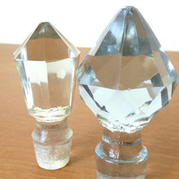 Two old cut glass bottle stoppers in light blue and clear glass