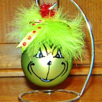Adorable Hand Painted & Decorated GRINCH Christmas Ornaments