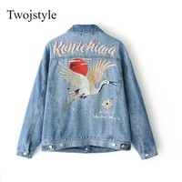 Twojstyle Vintage Denim Jacket Coat Women Pockets Birds Embroidery Jackets Spring Autumn Jeans Jacket Outwear Spring Oversize