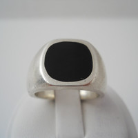Sterling Silver 925 Heavy Onyx Ring Large Size 9 Loop 925
