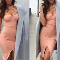 Elegant halter pink bandage dress Sexy front split evening party bodycon dresses