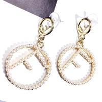 Fendi New fashion letter more pearl long earring jewelry