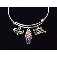 Flip Flop Jewelry Red White Blue USA Freedom Expandable Charm Bracelet Adjustable Bangle Gift 4th of July Patriotic