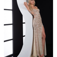 Nude Beaded Cut Out Prom Dress