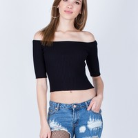 Stretchy Ribbed Crop Top