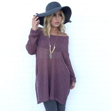 Out Of Sight Off Shoulder Knit Tunic Top