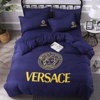 Purple VERSACE Comfortable Soft 4 Bedding Set Conditioning Throw Blanket Quilt For Bedroom Living Rooms Sofa