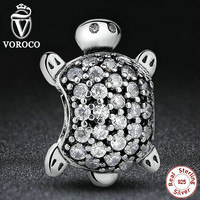Exquisite Clear CZ Sea Turtle Animal Charm Fit Pandora Original Bracelet Sterling Silver 925 DIY Accessories Jewelry S147