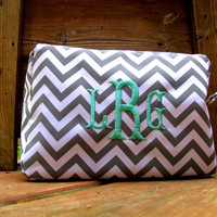 Monogrammed Makeup Bag - Chevron Pattern