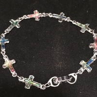 Christian Cross Abalone Shell Bracelet, Religious Jewelry, Silver Tone, Multi Color Irridescent Shells  418s