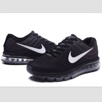 """NIKE"" Trending Fashion Casual Sports Shoes AirMax section Black white hook"