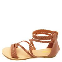 Strappy Braided Flat Gladiator Sandals by Charlotte Russe - Cognac