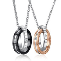 Couple Necklaces & Pendants 316l Stainless Steel Eternal Love Lettering Name His And Her Promise Necklace Set Fashion Jewelry