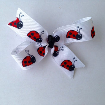 Lady Bug Double Loop Hair Bow-Kid's Hair Bow-Kid's Hair Clip-Hair Barrette