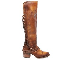 ESBONIG Freebird Coal - Tan Leather OTK Back Lace-Up Boot
