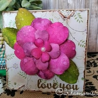 Love youHandmade Card,  Greeting card, Pink, Flower, Floral Handmade card, Watercolor