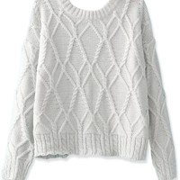 Loose Batwing-Sleeves Cropped Sweater - OASAP.com