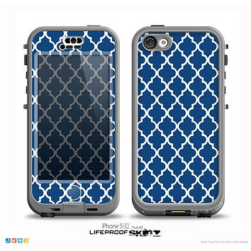 The Navy & White Seamless Morocan Pattern Skin for the iPhone 5c nüüd LifeProof Case
