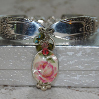 """""""Summer Rose""""  Silver Spoon Bracelet with Broken China Jewelry Heart Charm and Crystals in Gift Box"""