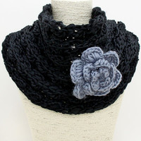 Black Flower Knit Infinity Scarf