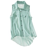 Target : Xhilaration® Juniors Sleeveless High Low Pleated Back Shirt - Assorted Colors : Image Zoom