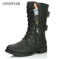 COVOYYAR 2018 Women Boots Side Zip Buckle Military Combat Boots Credit Card Pocket Booties Lace Up Black Shoes Big Sizes WBS949