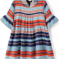 Multicolor Striped Bell Sleeve Loose Fitting Mini Dress