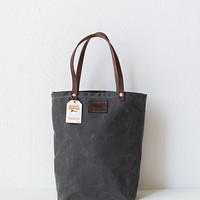Bradley Mountain Waxed Canvas Tote Bag Charcoal [Atwood Charcoal Tote] : ORN HANSEN, Vintage + American Made General Store