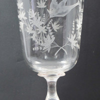 Copper wheel Glass engraved with bird, FLORAL vase /chalice