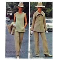 VOGUE 2294 PANTSUIT PATTERN Large Shaped Collar Jacket Flared Hipster Pants Tunic Womens Sewing Patterns Bust 34 Size 12 *Missing Pieces