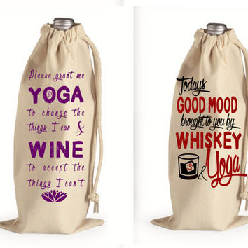 Wine  or Whiskey Gift Bag for Yoga Lovers