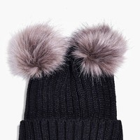 Violet Double Faux Fur Pom Beanie Hat