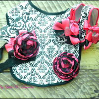 """Baby Girl Damask, Baby Shoes, Crib Shoes, Bib, Headband Set, """" Perfect Little Ms"""", Shower Gift, Accessories, Photo Prop"""