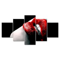 5 Piece Pcs Panels Sexy Woman Lips Panel Wall Art Poster Living Bed Room