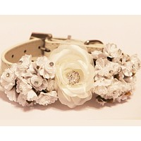 White Floral Dog Collars, Pet wedding, white floral wedding ideas , Wedding dog collar