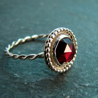 Rose Cut Garnet Ring in Sterling Silver with Granulated Setting - Cocktail Ring - Size 7 - January Birthstone - Red Stone Ring
